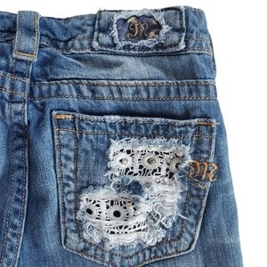 MISS ME Jeans Boyfriend Ankle Distressed Patches Lace Rhinestones Size 26